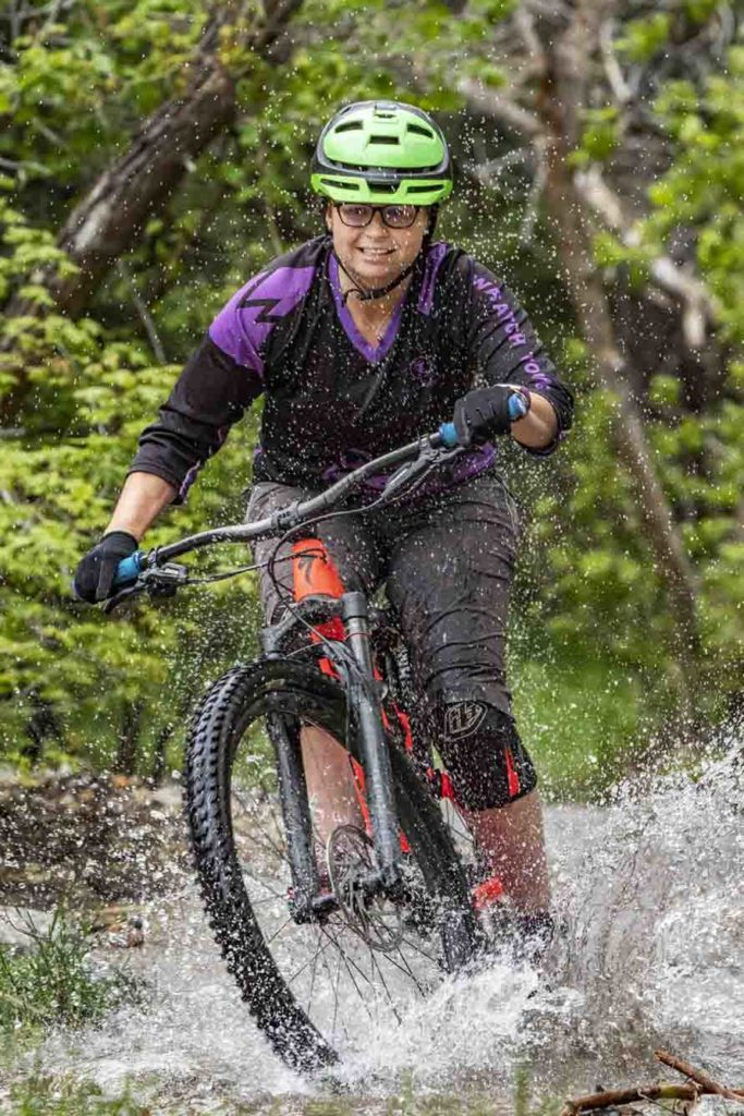 Elizabeth explores getting cold and damp on her Specialized mountain bike.